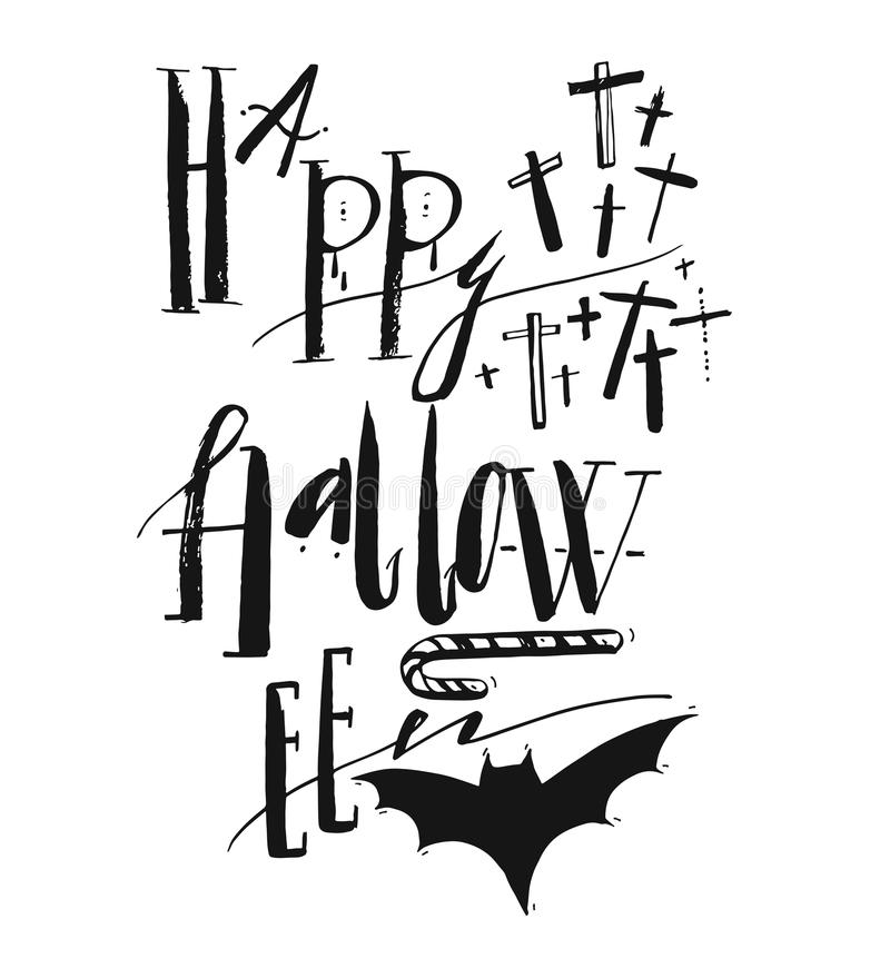 Hand drawn vector Halloween Poster with handwritten modern lettering phase Happy Halloween royalty free illustration