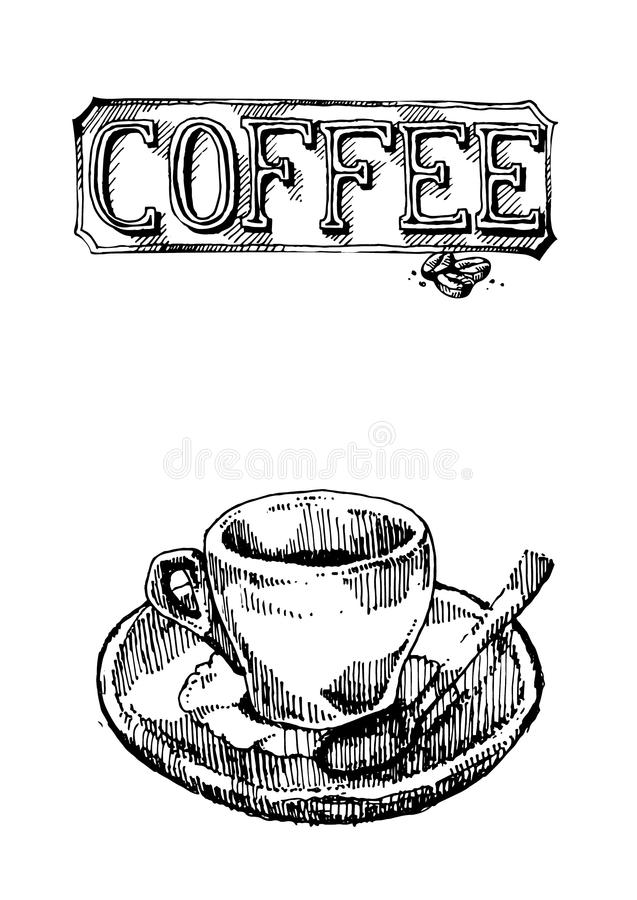 Hand drawn vector icon set of coffee sign and cup for cafeteria menu or sign stock photos
