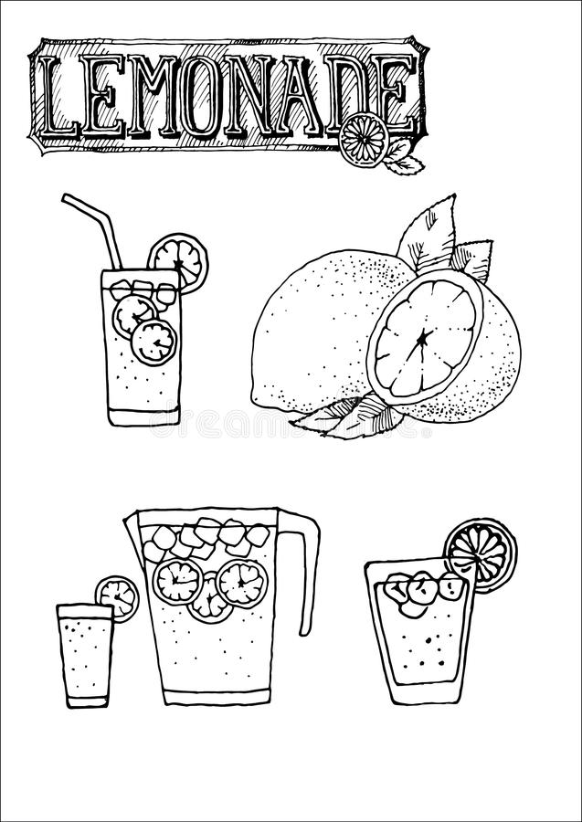 Hand drawn vector icon set of lemonade sign, cup, glass for cafeteria menu or sign stock photos
