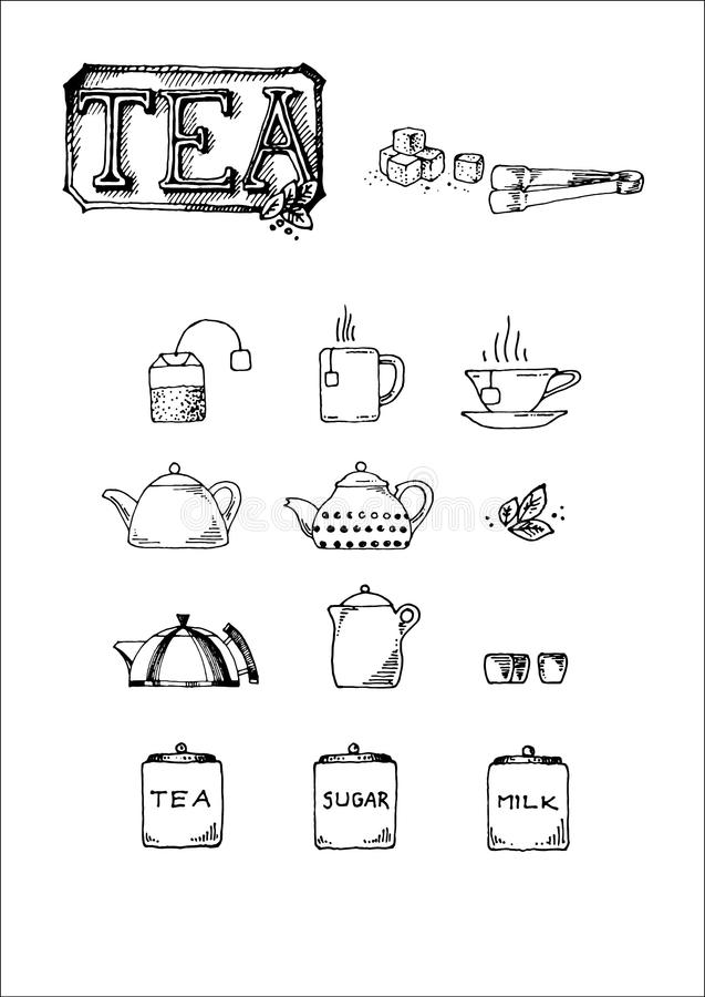 Hand drawn vector icon set of tea sign, cup, pot, filter for cafeteria menu or sign royalty free stock image