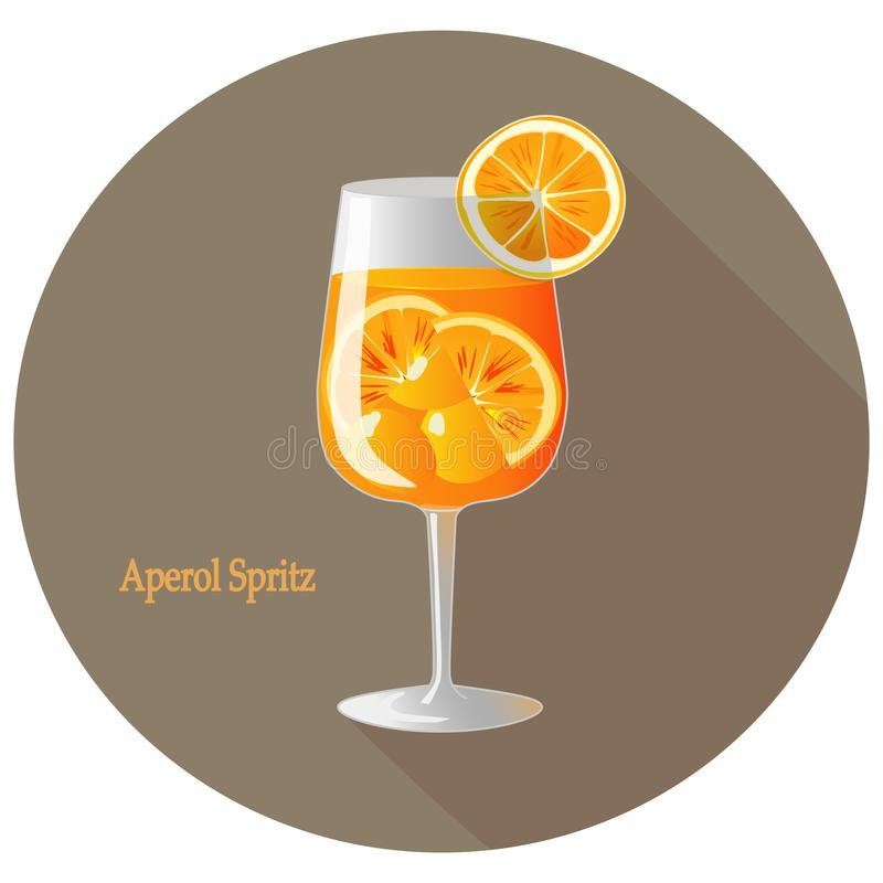Hand drawn vector illustration of Aperol Spritz alcohol cocktail with a citrus orange slice decoration, in a brown circle. With long shadow and text. Bar menu stock illustration
