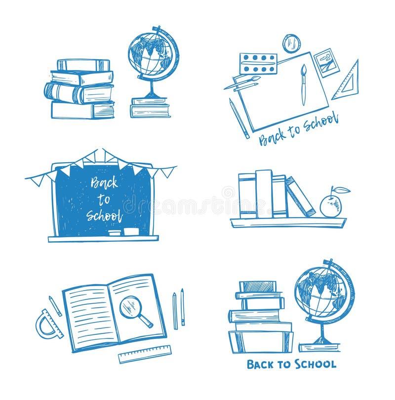 Hand drawn vector illustration - Back to school. Sketch design e royalty free illustration