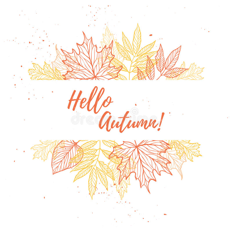 Hand drawn vector illustration. Background with Fall leaves. For royalty free illustration