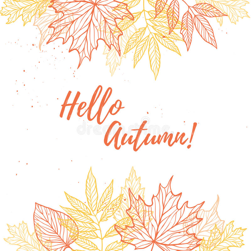 Hand drawn vector illustration. Background with Fall leaves. For. Est design elements. Hello Autumn vector illustration