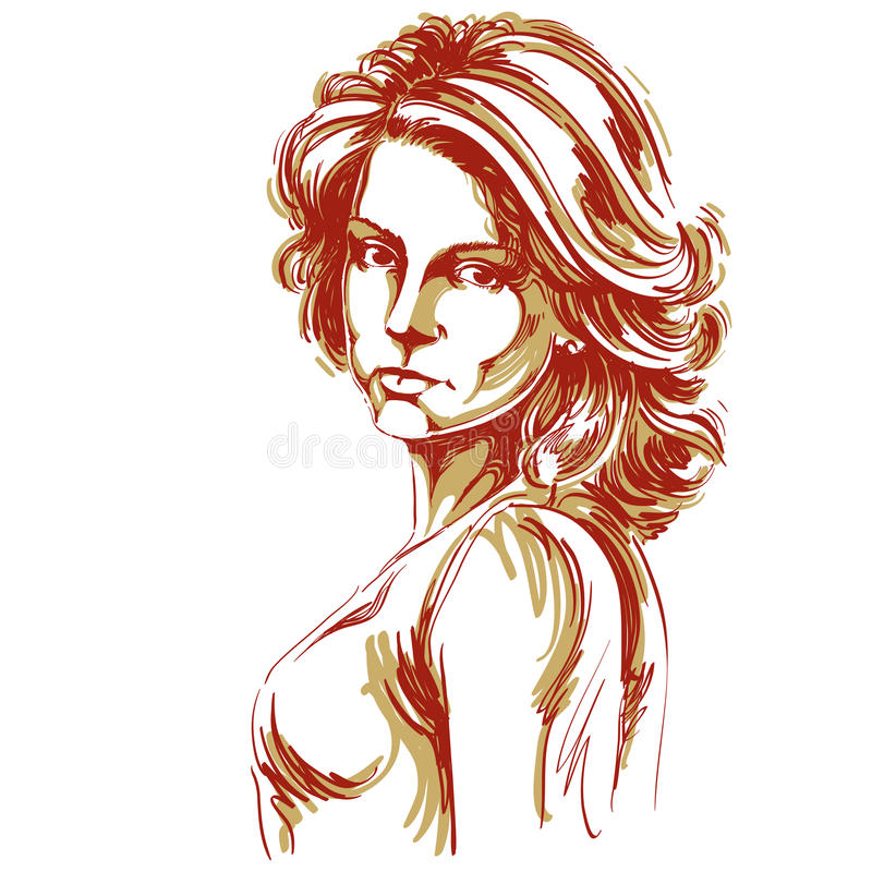 Hand-drawn vector illustration of beautiful confident woman. Creative image, expressions on face of young lady, Caucasian type. stock illustration