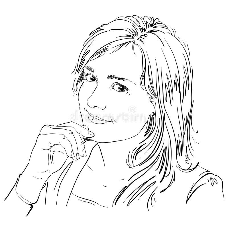 Hand-drawn vector illustration of beautiful romantic loving woman. Monochrome image, expressions on face of young lady, delicate vector illustration