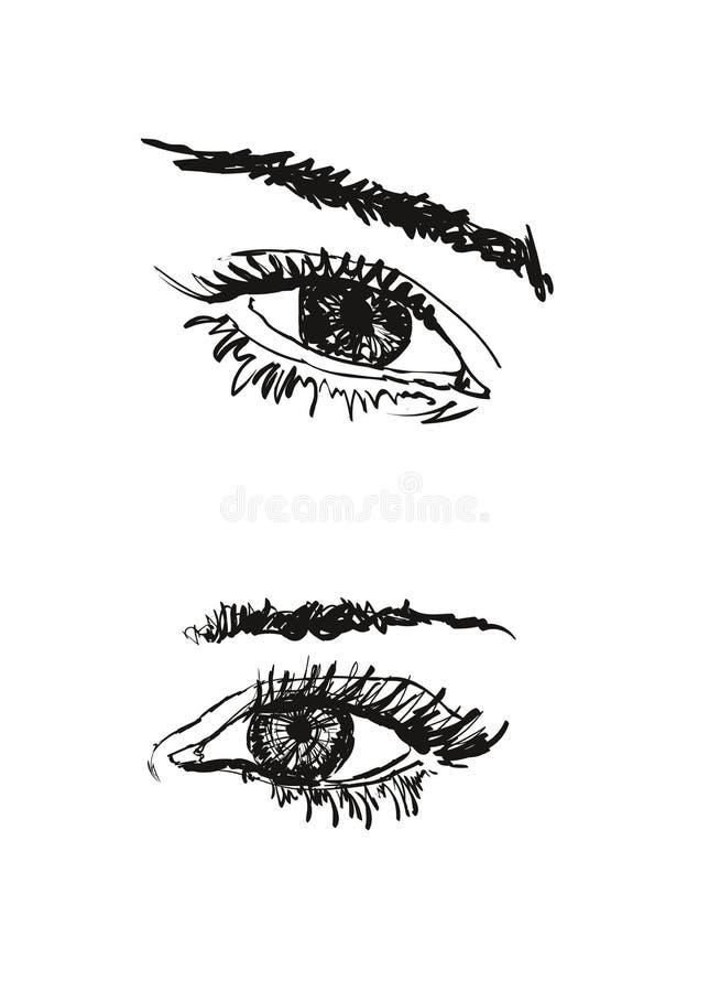 Hand drawn vector illustration. Beautiful woman eye makeup. Fashion sketch stock illustration