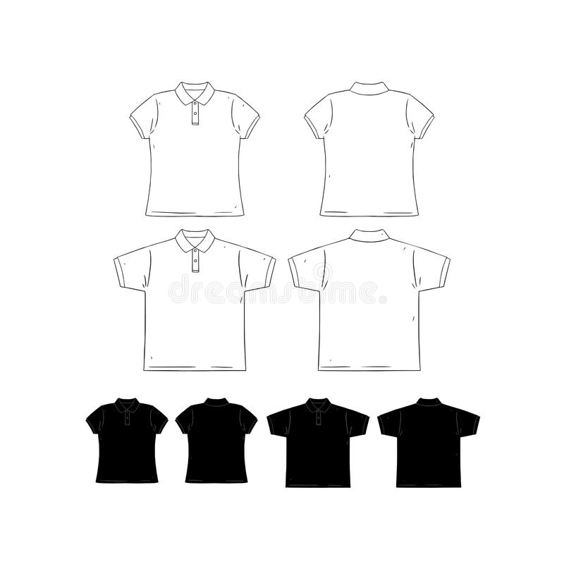 Hand drawn vector illustration of blank men and women short sleeve polo shirt design template.Front and back shirt sides. stock illustration