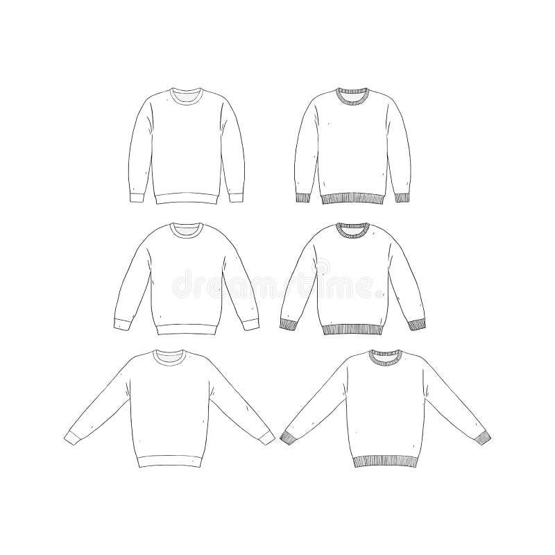 Hand Drawn Vector Illustration Of Blank T-shirt Long Sleeve Set On ...