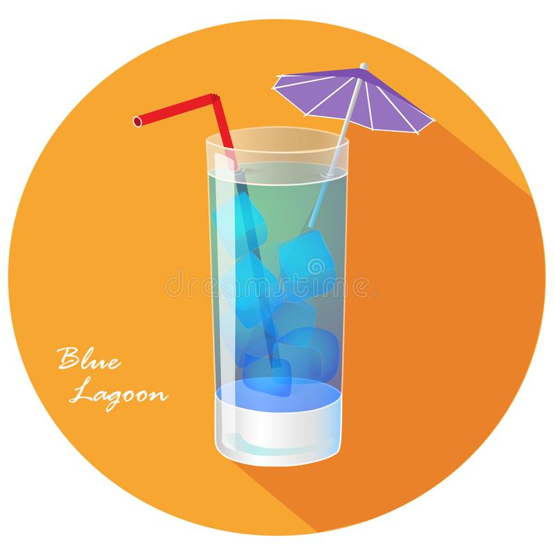 Hand drawn vector illustration of Blue lagoon popular summer cocktail, in orange circle with long shadow and text. Bar menu vector illustration