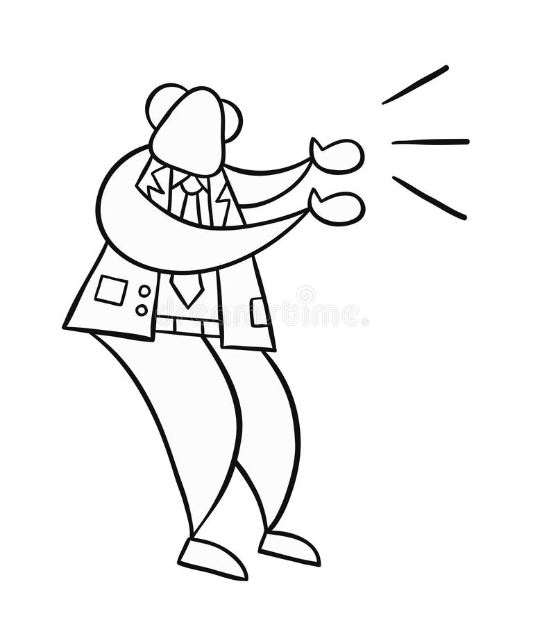 Hand-drawn vector illustration of boss angry and yelling. Black outlines and white vector illustration
