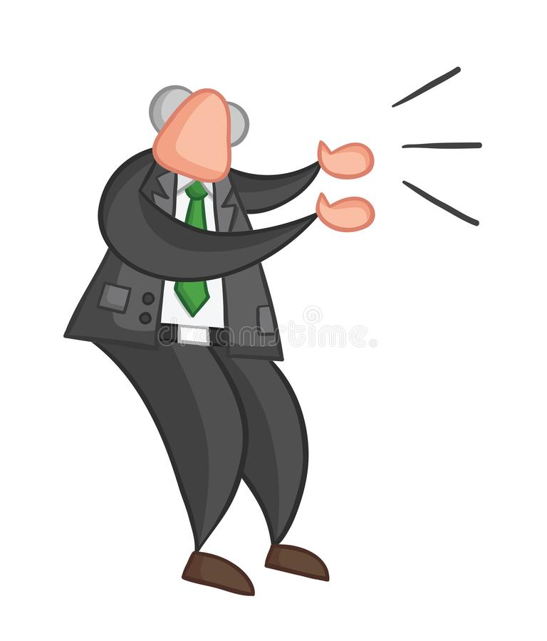 Hand-drawn vector illustration of boss angry and yelling. Color outlines and colored royalty free illustration