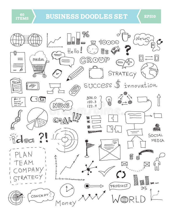 Business doodle elements set stock illustration