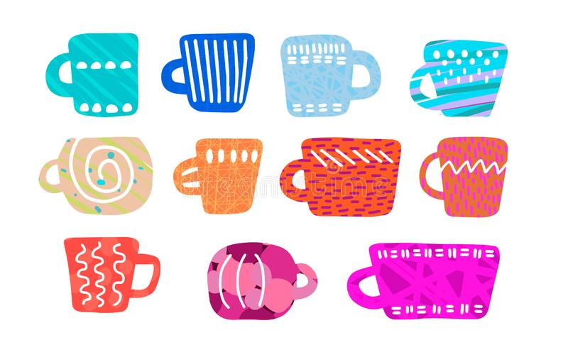 Hand drawn vector illustration in cartoon style. Different cups forms colors textures. Rainbow vector illustration