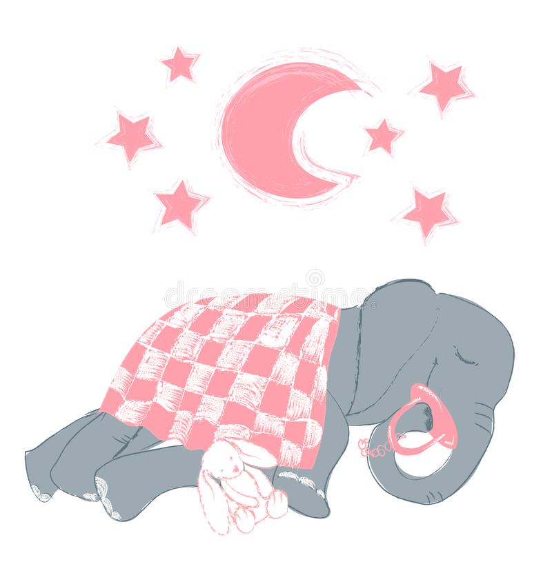 Hand drawn vector illustration with a cute baby elephant sleeping celebrating new birth vector illustration