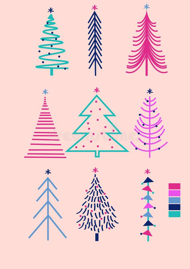 Hand drawn vector illustration of cute bright trees. Christmas art, sign of  Happy New Year 2020. Art can be used for wallpaper, postcard, greeting, design vector illustration