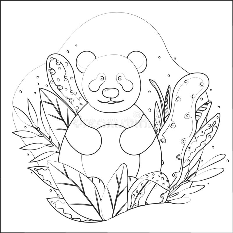 Hand drawn vector illustration of a cute cartoon panda sitting on leaves stock illustration