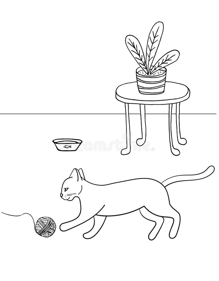 Free Hand Drawn Vector Illustration. Cute Cat Playing With A Ball Of Thread , Room, Flower, On A White Background, Coloring Book For Stock Photo - 176247810