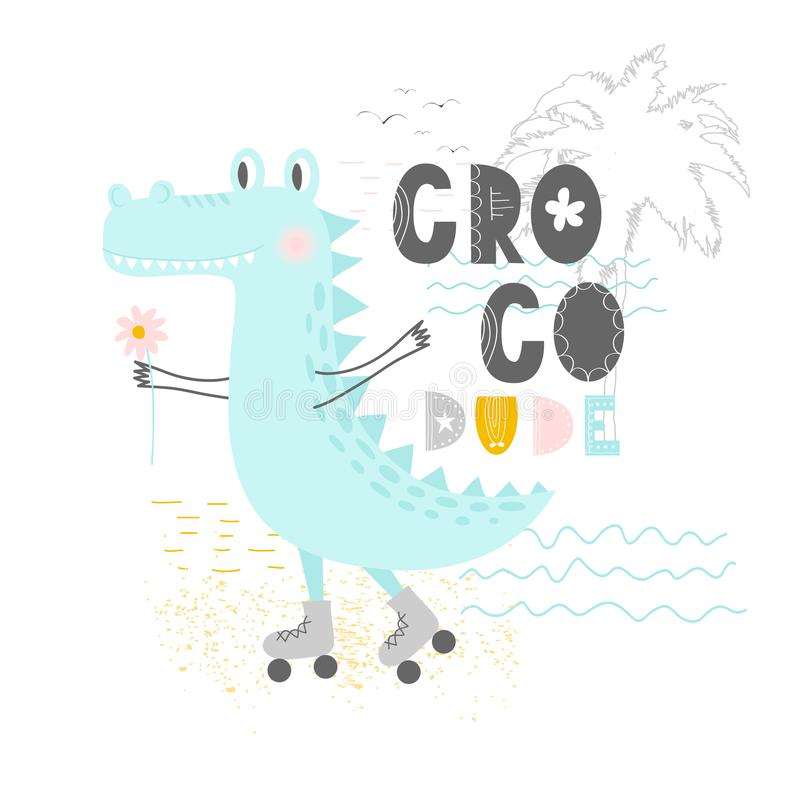 Hand drawn vector illustration of a cute funny crocodile on the rollers with lettering quote Croco Dude. Isolated objects. Scandin vector illustration