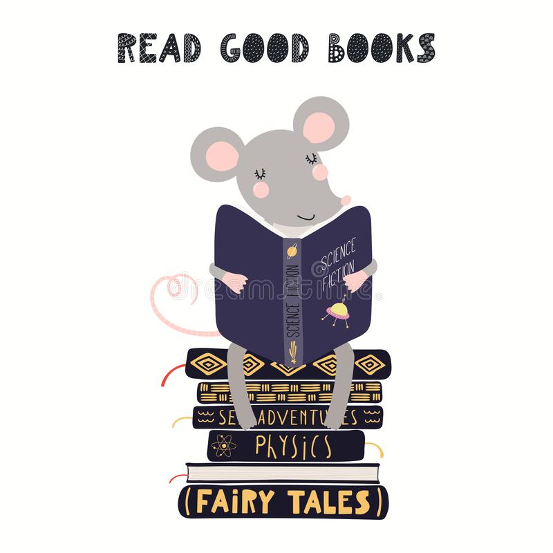 Cute mouse reading book stock illustration
