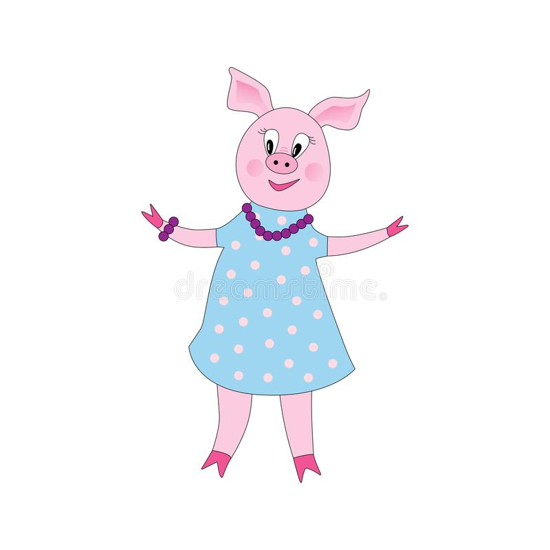 Hand drawn vector illustration of a cute funny piggy girl stock illustration