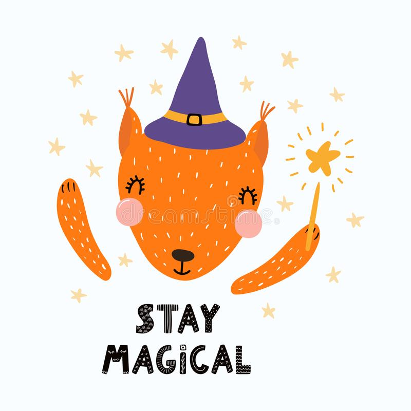 Cute witch squirrel royalty free illustration