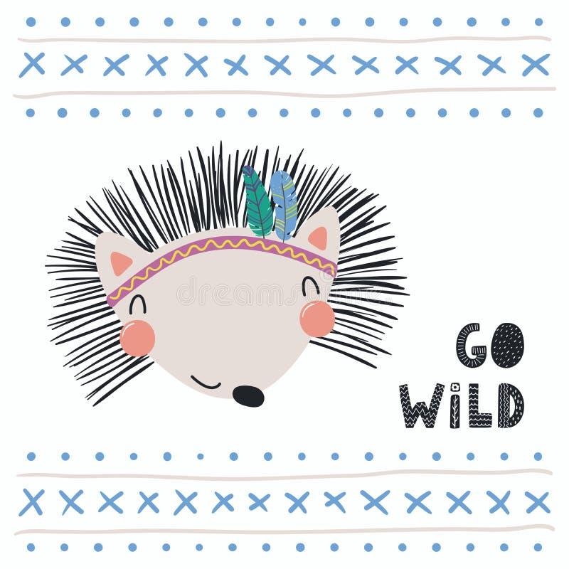 Cute tribal hedgehog vector illustration