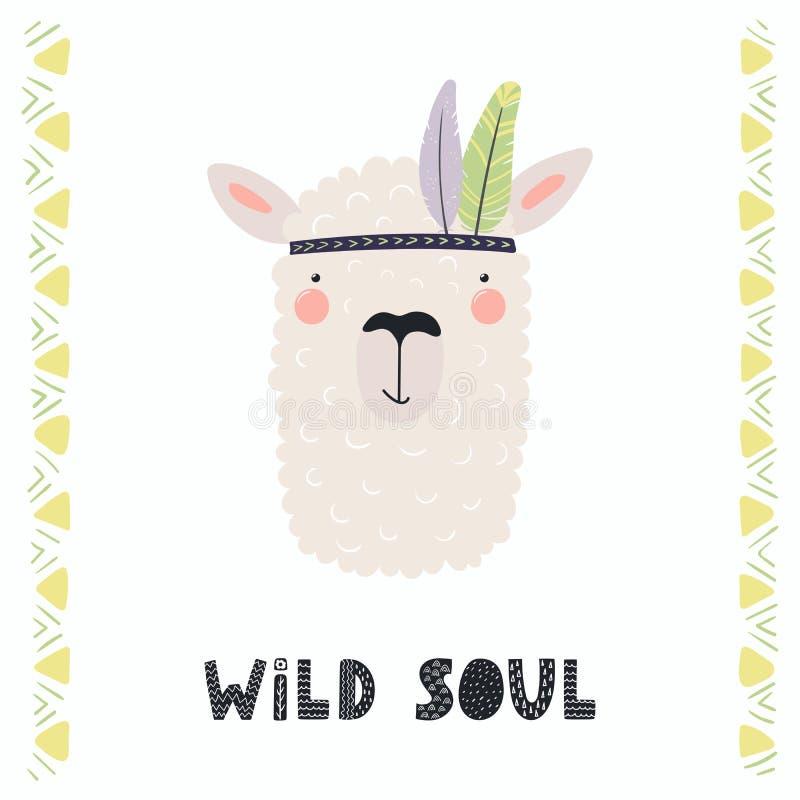 Cute tribal llama vector illustration