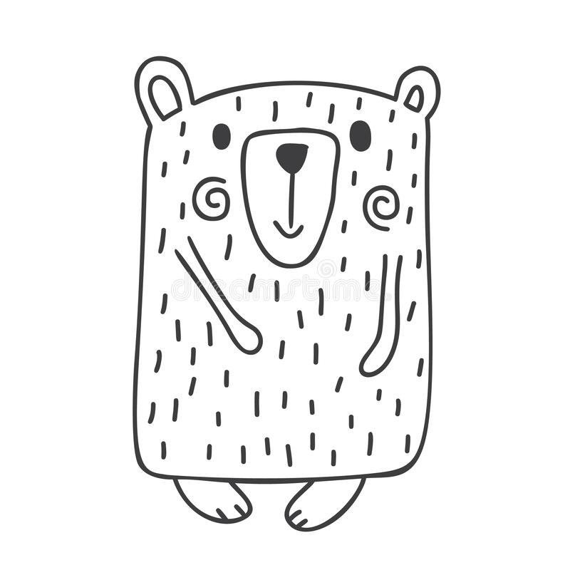 Hand drawn vector illustration of a cute funny winter bear going for a walk. Christmas scandinavian style design stock illustration