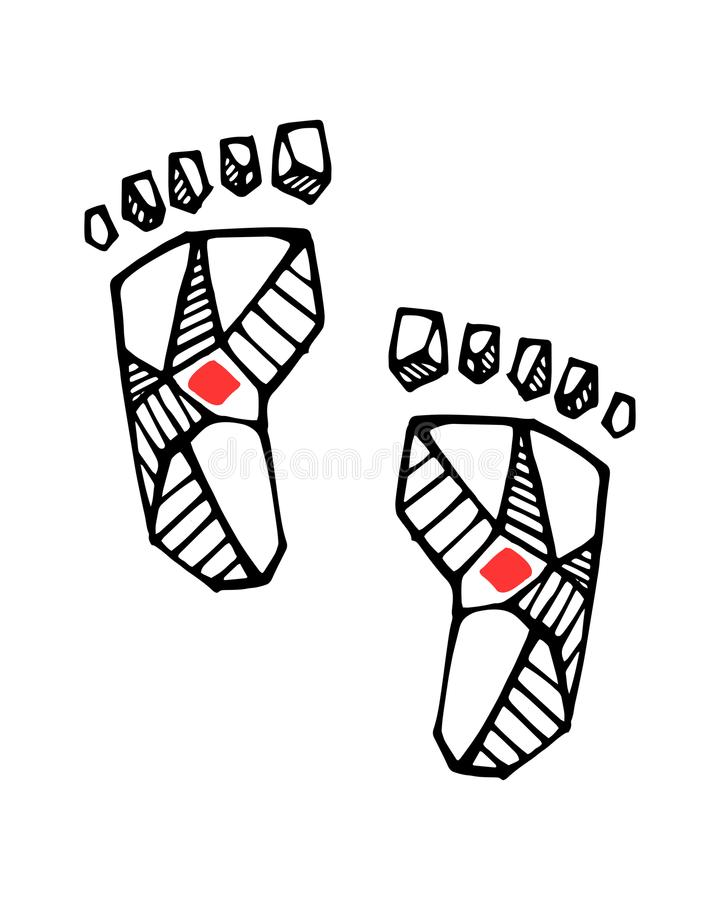 Jesus Christ feet ink illustration. Hand drawn vector illustration or drawing of Jesus Christ feet stock illustration