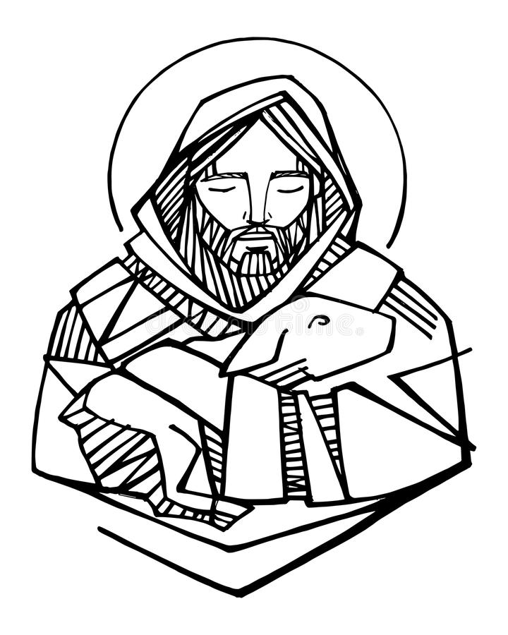 Jesus Christ Good Shepherd ink illustration. Hand drawn vector illustration or drawing of Jesus Christ Good Shepherd and sheep stock illustration