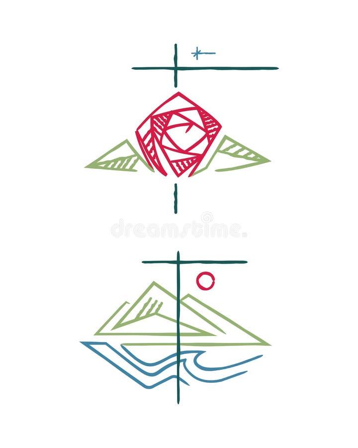 Religious Christian Ink Symbols Illustration Stock Vector