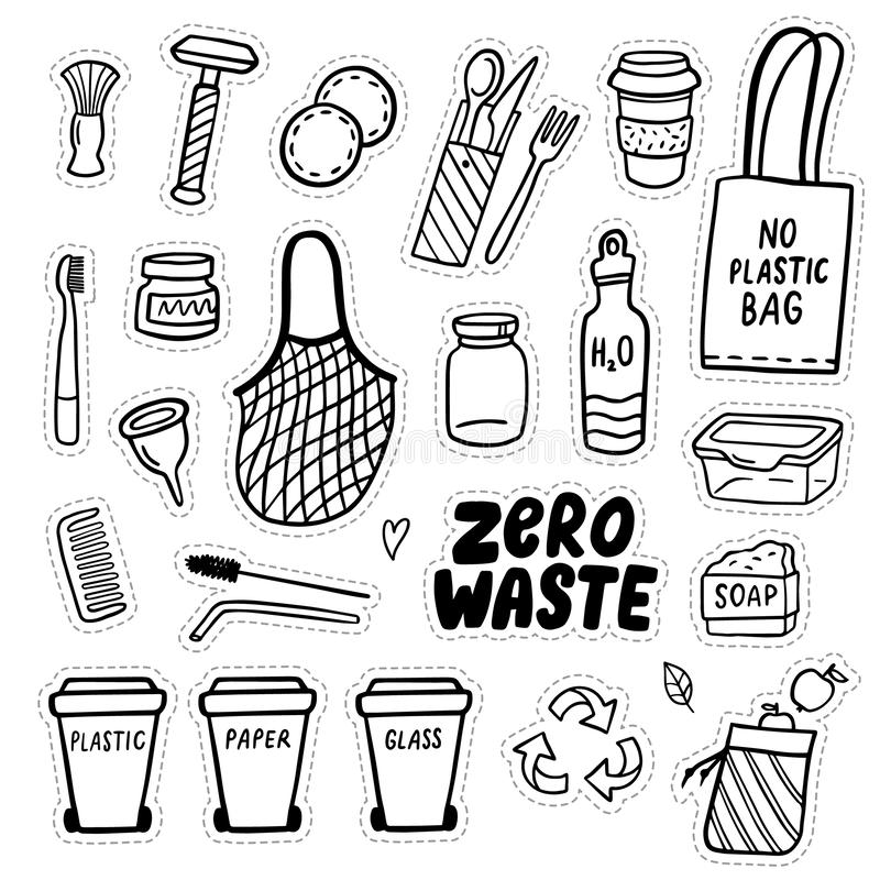 Set of eco-style doodle elements. Zero waste lifestyle. Go green. Hand-drawn vector illustration. Good for banner, postcard, background or flyer royalty free illustration