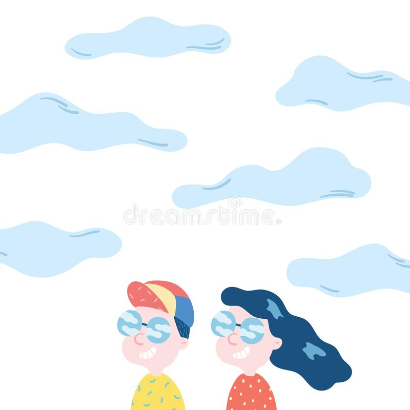 Hand drawn vector illustration of happy man and woman smiling on sky background. Young adult couple wearing sunglasses stock illustration