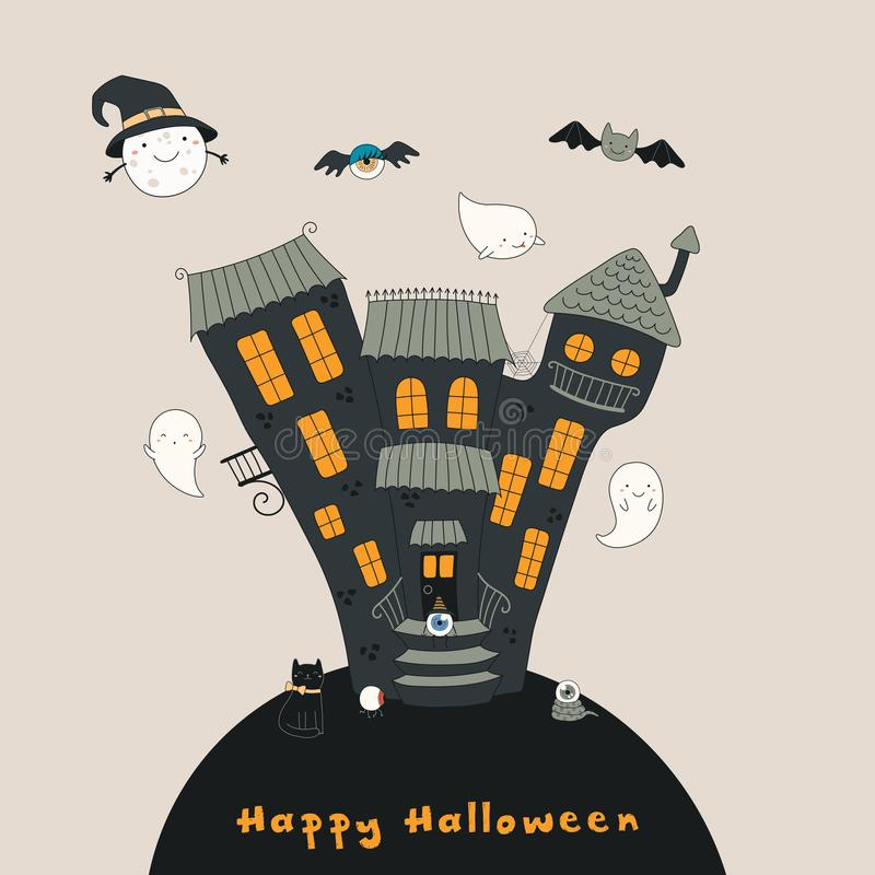 Hand Drawn Haunted House stock vector. Illustration of ...