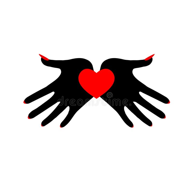Heart in black palms. A demonic image. Symbol of the fatal passion. Hand drawn vector illustration isolated on white, logo, t-shirt design vector illustration