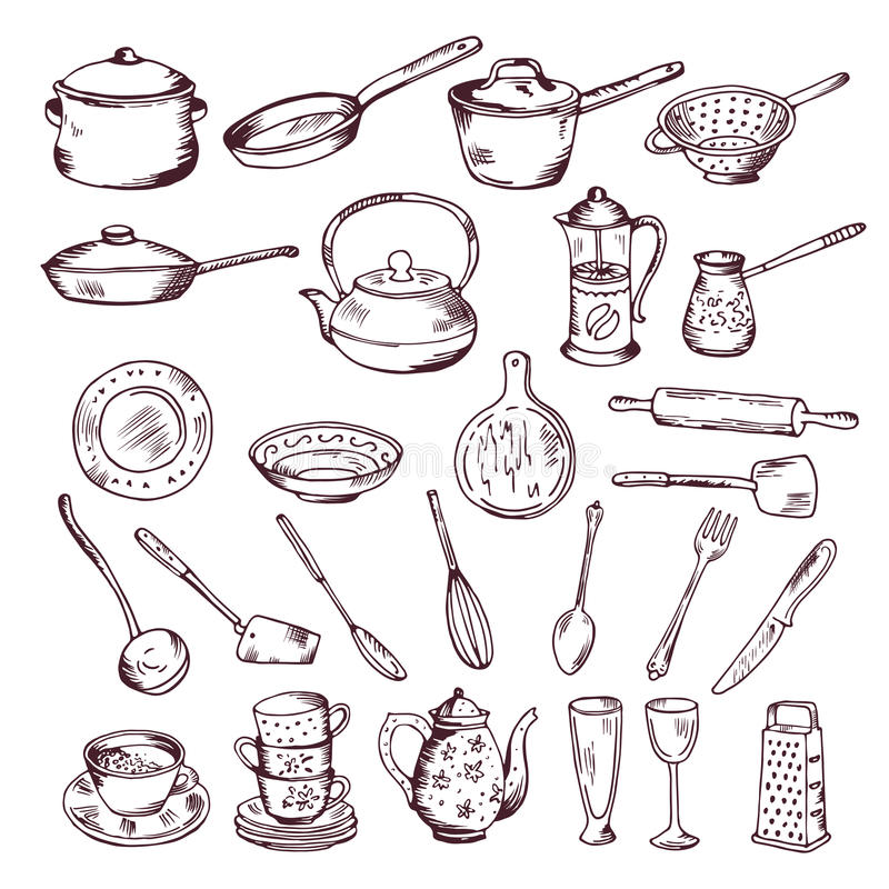 Hand drawn vector illustration of kitchen tools isolate on white background stock illustration
