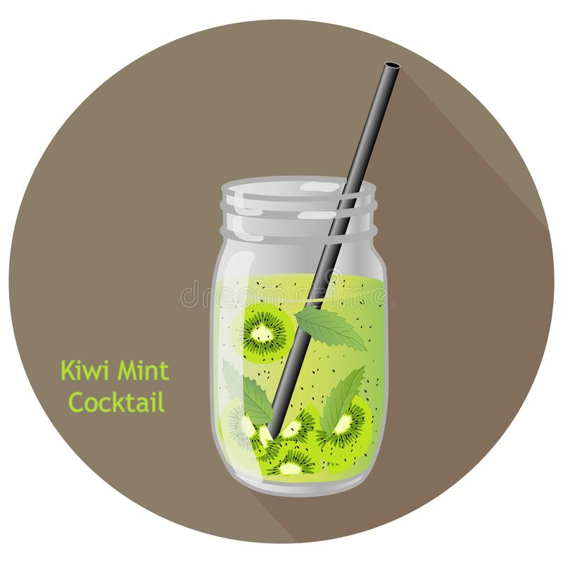 Hand drawn vector illustration of kiwi mint cocktail in a mason jar with a black straw, in a brown circle with long shadow stock illustration