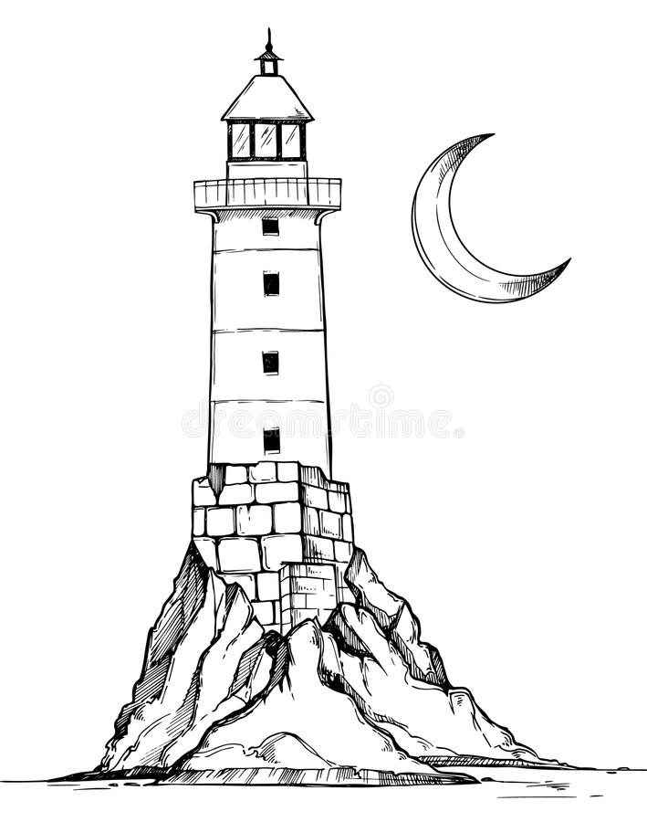 Line Art Lighthouse : Hand drawn vector illustration lighthouse on the rock