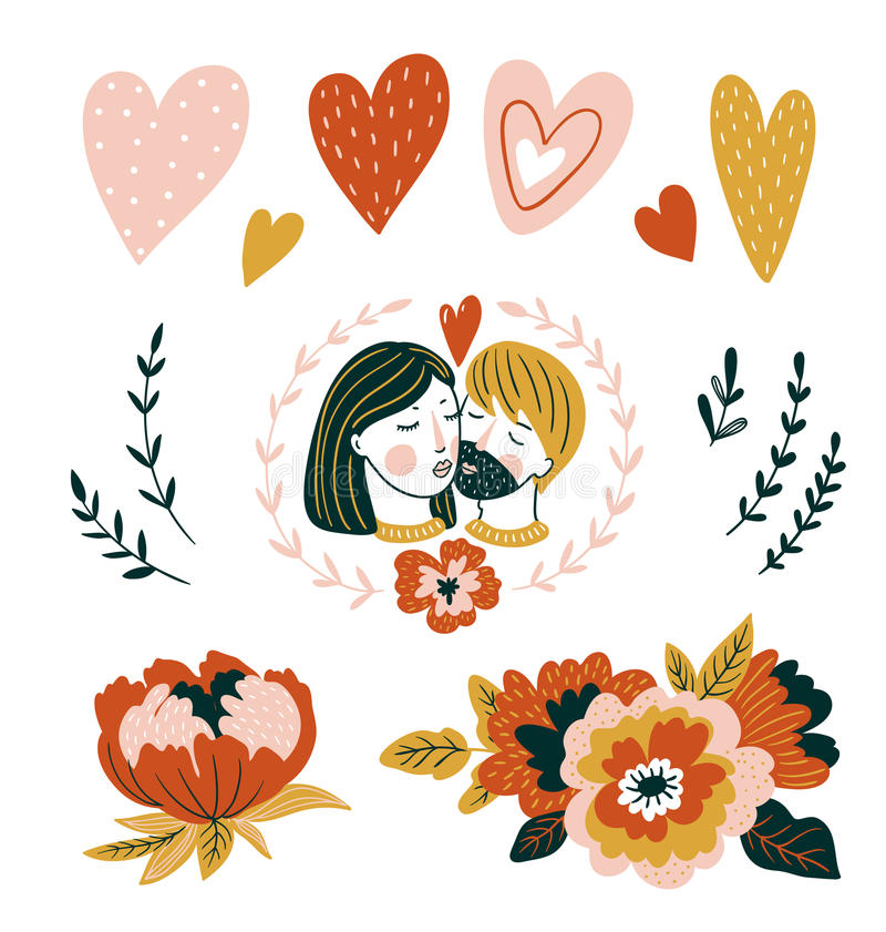 Hand drawn vector illustration love set with couple, hearts and flowers for Valentine`s day. Stylish decor for romantic card. royalty free illustration
