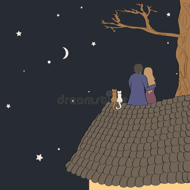 Hand drawn vector illustration of loving couple sitting on roof, looking at moon under stars in night sky with text. Place. Good for memory or Valentine card royalty free illustration