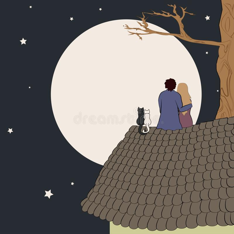 Hand drawn vector illustration of loving couple sitting on roof, looking at moon under stars in night sky with text. Place. Good for memory or Valentine card vector illustration