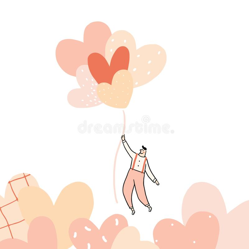 Hand drawn vector illustration of man flying with heart balloon on white background.Male holding pink heart balloons. royalty free illustration