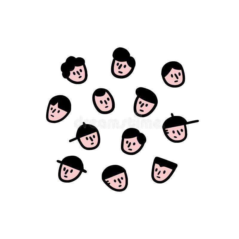 Hand drawn vector illustration of men face set in cartoon style. Man face avatar. doodle royalty free illustration
