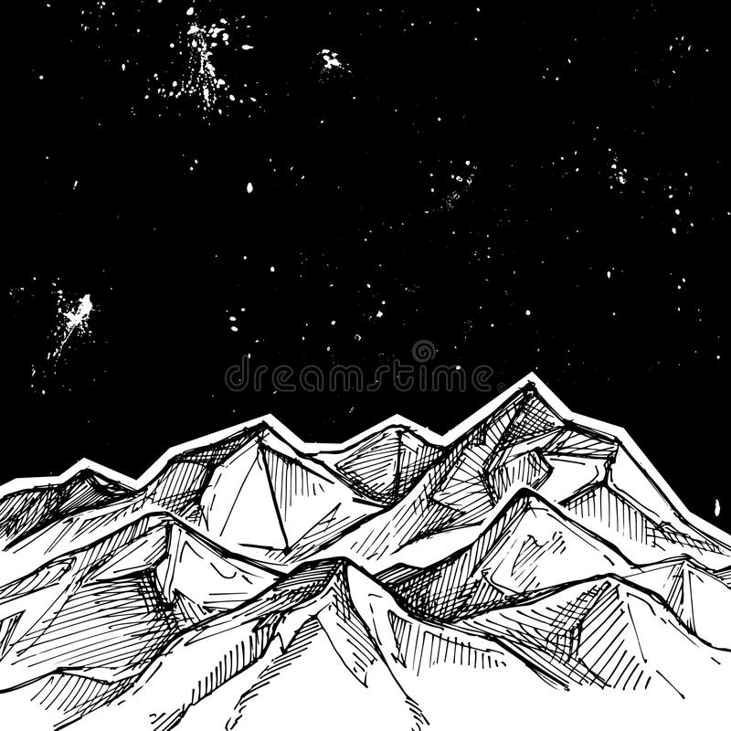 Hand drawn vector illustration - mountains and starry sky . Sketch style. Template for your design vector illustration