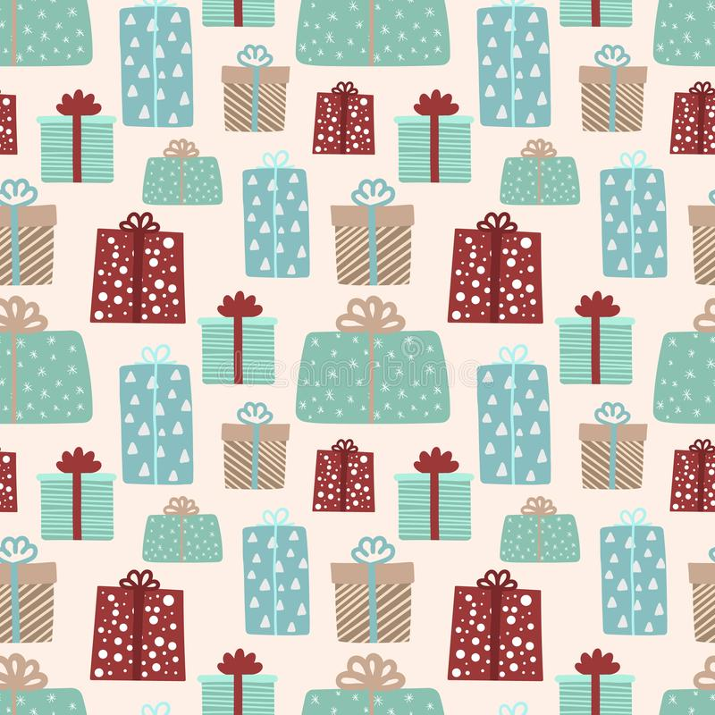From hand drawn vector illustration of multi-colored gifts on a beige background. Seamless pattern for Christmas and New Year. royalty free illustration