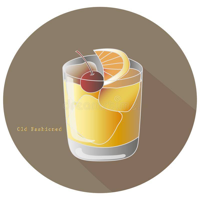 Hand drawn vector illustration of The Old Fashioned alcohol whiskey or brandy cocktail with a citrus orange slice and a cherry stock illustration