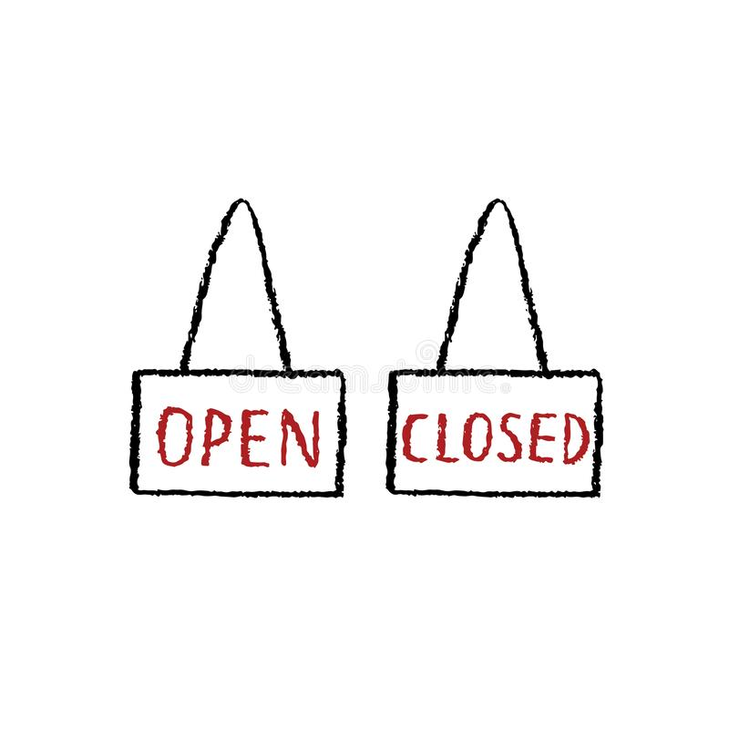 Hand drawn vector illustration of open,close sign on white background. stock illustration