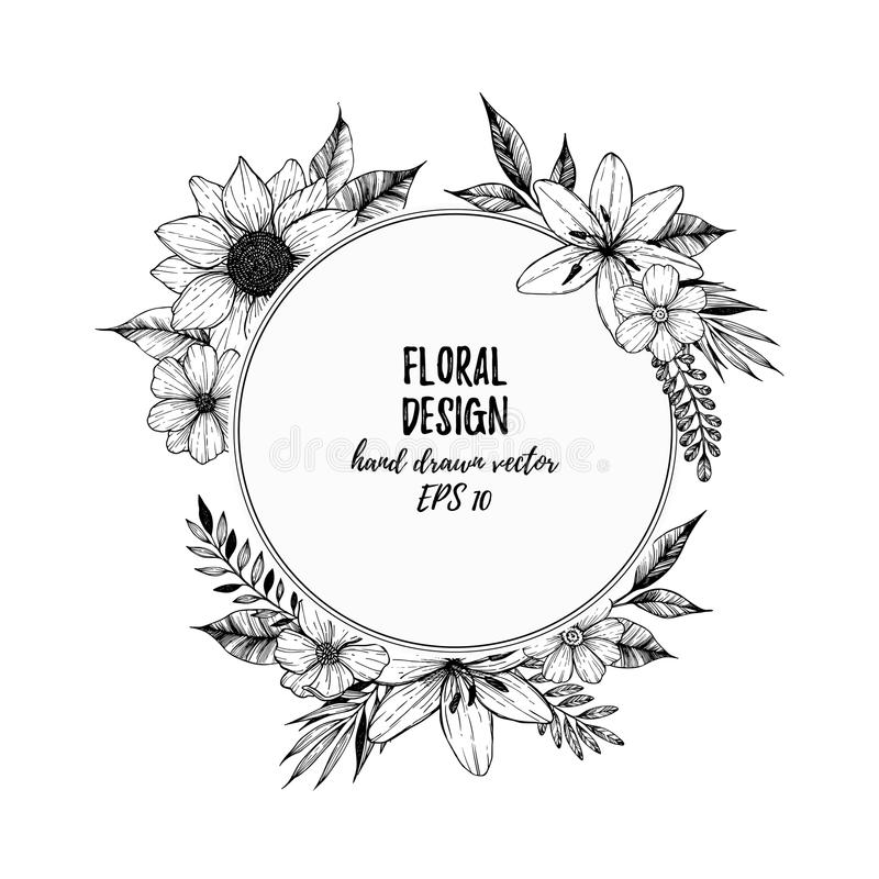 Hand drawn vector illustration - round card with black flowers a vector illustration