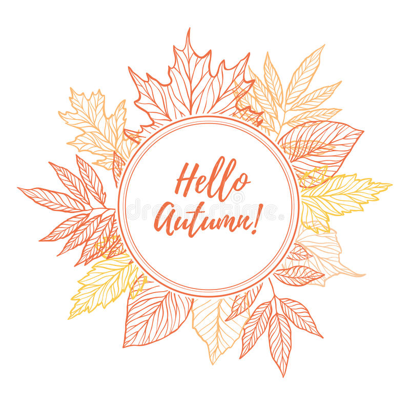 Hand drawn vector illustration. Round emblem with Fall leaves. F. Orest design elements. Hello Autumn stock illustration